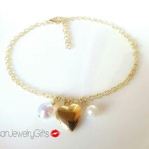 16K Gold Heart Ankle Bracelet Crystal Anklet
